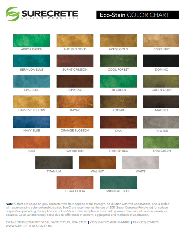 CR-Basic Stain Color Chart by Surecrete