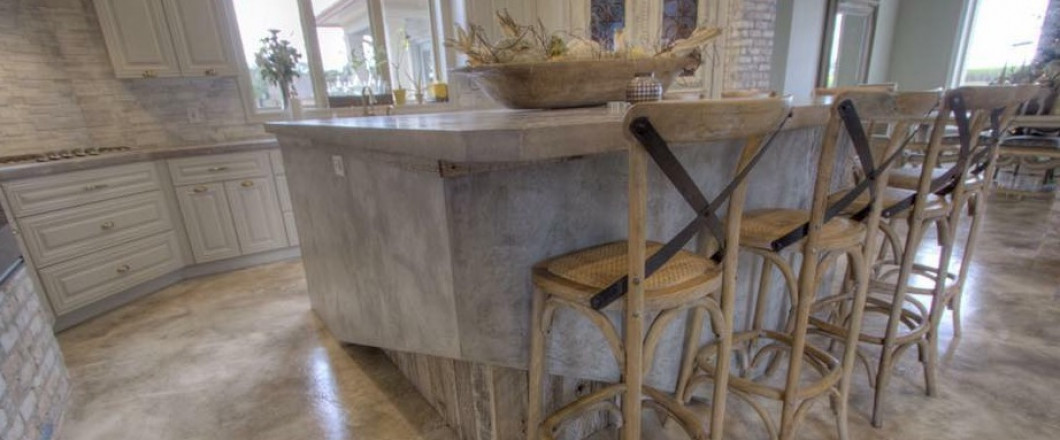Concrete kitchen island in a New Iberia, LA kitchen